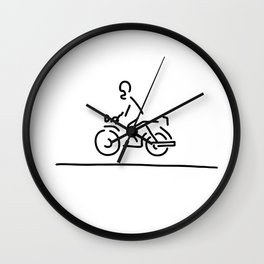 motorcyclist motorcycle street Wall Clock