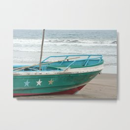 Green and White Fishing Boat Metal Print