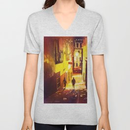 Alleywayin the colonial mining city of Guanajuato- Mexico Unisex V-Neck