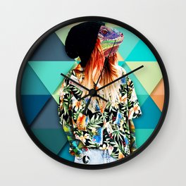 Iguana Girl Wall Clock