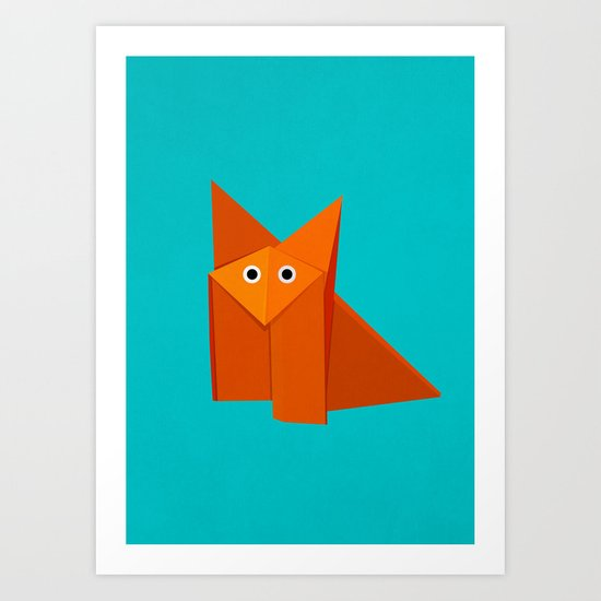 Cute Origami Fox Art Print