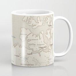 Sepia vintage world map with cities Coffee Mug