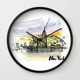 New York. Watercolor and ink. Wall Clock