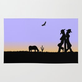 Western Cowboy and Cowgirl on the Range Rug