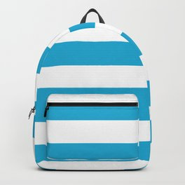 Battery charged blue - solid color - white stripes pattern Backpack