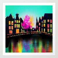 amsterdam Art Prints featuring AMSTERDAM by mark ashkenazi