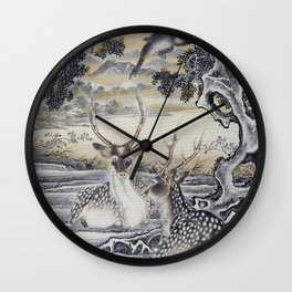 Deer And Monkeys - Digital Remastered Edition Wall Clock