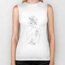 Minimal Line Art Woman with Flowers IV Biker Tank