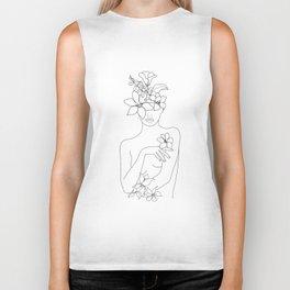 Minimal Line Art Woman with Flowers IV Biker Tank