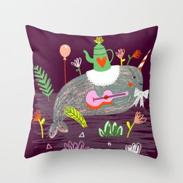 Wild party - Narwhal Throw Pillow