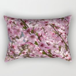 field of blooming peach trees in spring Rectangular Pillow