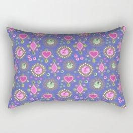 Brooches on blue Rectangular Pillow
