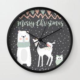 Winter Christmas Animals Wall Clock