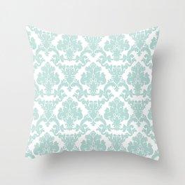 damask, in eau de nil Throw Pillow