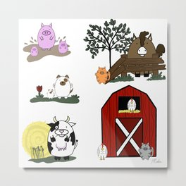 Fun Farm Animals Metal Print