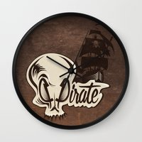 pirate Wall Clocks featuring Pirate by Tony Vazquez