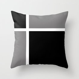 Black White Grey Color Block Throw Pillow