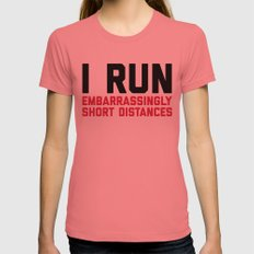 Run Short Distances Funny Quote X-LARGE Womens Fitted Tee Pomegranate