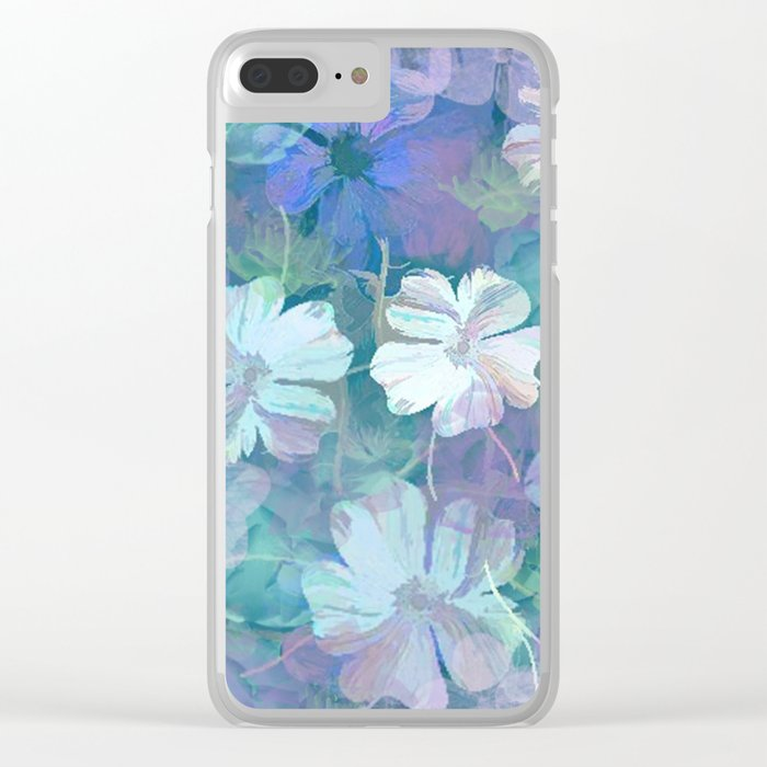 Painterly Midnight Floral Abstract Clear iPhone Case