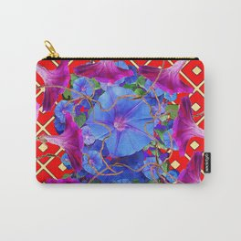 Bold Red Harmonious Purple-Blue Floral Art Carry-All Pouch