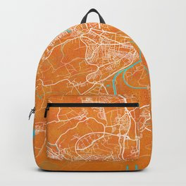 Ulm, Germany, Gold, Blue, City, Map Backpack