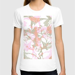 Tropical Jungle Pattern - Pink, coral and Kaki T-shirt