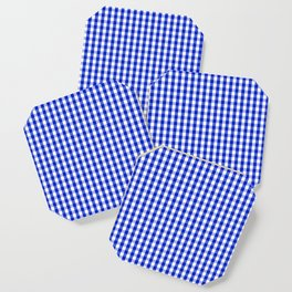 Cobalt Blue and White Gingham Check Plaid Squared Pattern Coaster