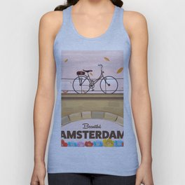 Amsterdam Holland Bicycle travel poster. Unisex Tank Top