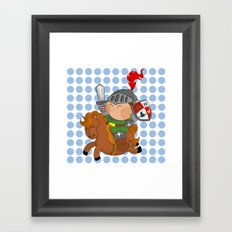 little knight with his horse Framed Art Print