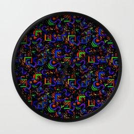 Neon Pixel Pattern Wall Clock