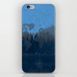 world map wanderlust forest blue iPhone Skin