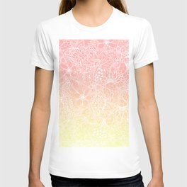 Spring summer fruity pink lemon yellow gradient floral illustration pattern T-shirt