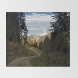 through the woods and over the mountains Throw Blanket