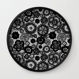 Whimsical Floral Black and White Pattern Wall Clock
