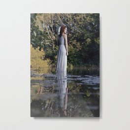 Lady in white standing on the water Metal Print
