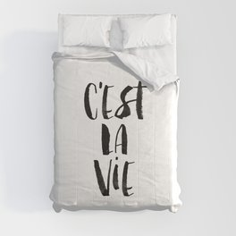 C'est La Vie black and white watercolor typography wall art home decor hand lettered life quote Comforters