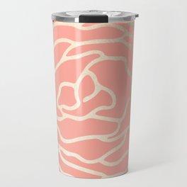 Flower in White Gold Sands on Salmon Pink Travel Mug