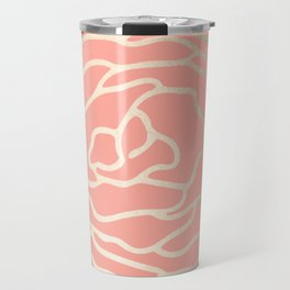 Flower in White Gold Sands on Salmon Pink Travel Mug