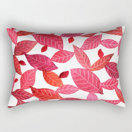 Red Leaves Pattern Rectangular Pillow