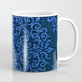Vintage Blue Paisley Damask Pattern Coffee Mug