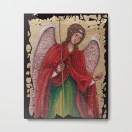 Archangel Gabriel Fresco Antique Looking Wall Art Metal Print