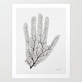 Hand Branches - Black Art Print