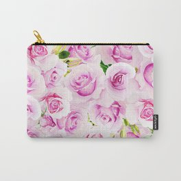 pink flowers roses watercolor wedding illustration Carry-All Pouch