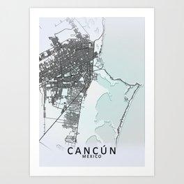 Cancún, Quintana Roo, Mexico, White, City, Map Art Print