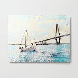 Charleston South Carolina - Sailboat - Arthur Ravenel Jr Bridge Metal Print