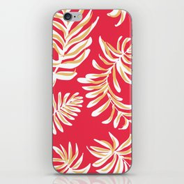 feather ferns on red iPhone Skin