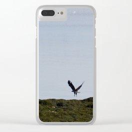 Osprey In Flight on the Ocean Clear iPhone Case