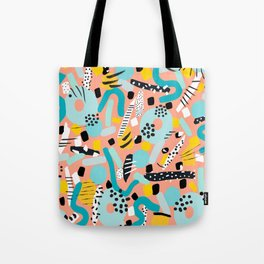 CIRCLES IN MOTION - peach/ yellow/ mint Tote Bag
