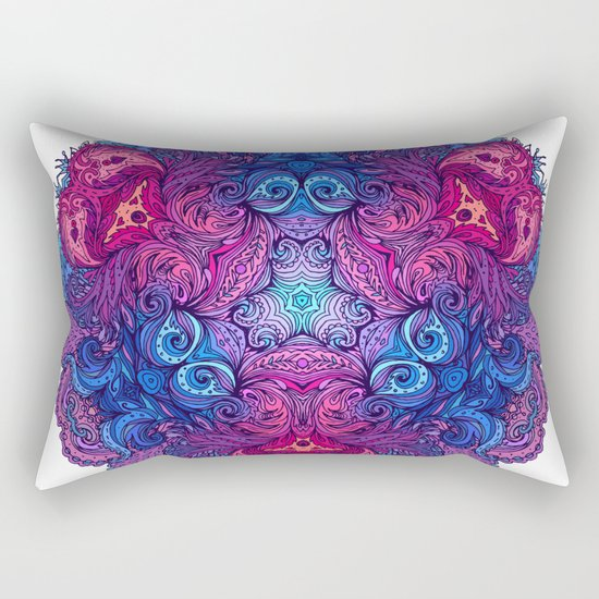 Purple & Blue Indian Mandala Rectangular Pillow