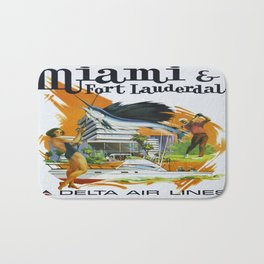 Vintage poster - Miami and Fort Lauderdale Bath Mat